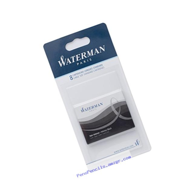 Waterman Standard Long Cartridges for Fountain Pens, Intense Black, Box of 8 (S0712991)