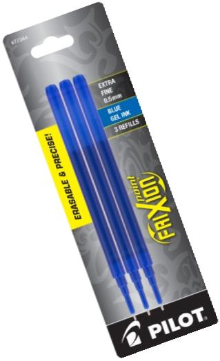 Pilot FriXion Gel Ink Pen Refill, 3-Pack for Erasable Pens, Extra Fine Point, Blue Ink (77344)