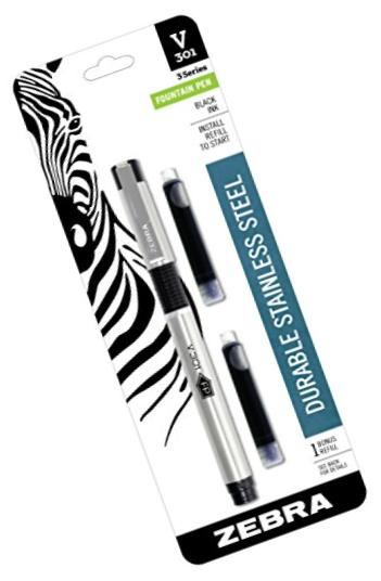 Zebra V-301 Stainless Steel Fountain Pen with Refill, Black, 1-Pack(48111)